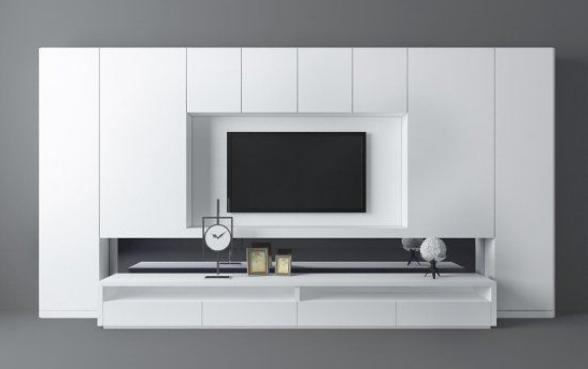 白色现代客厅电视墙3d模型下载