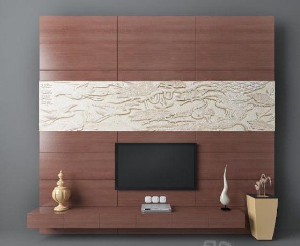 棕色木质背景墙3d模型下载