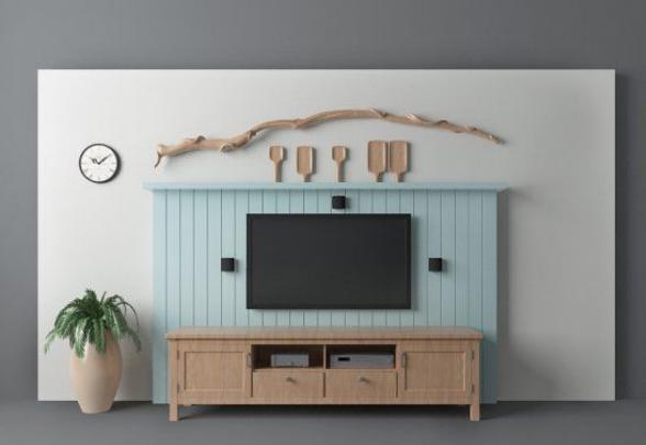 地中海风格电视背景墙模型