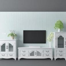 欧式白色电视墙3d模型下载