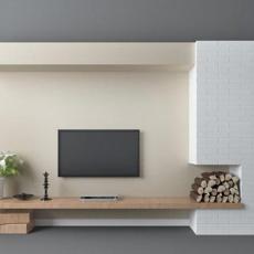 美式电视墙3d模型下载