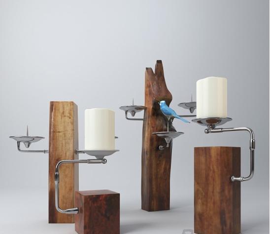中式木质烛台3d模型下载