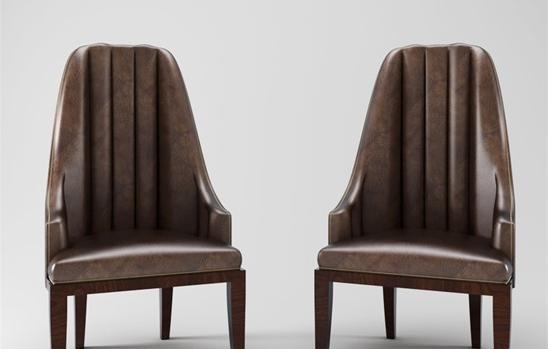 棕色皮质单椅3d模型下载