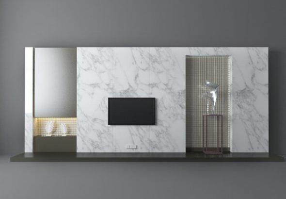现代白色电视墙模型