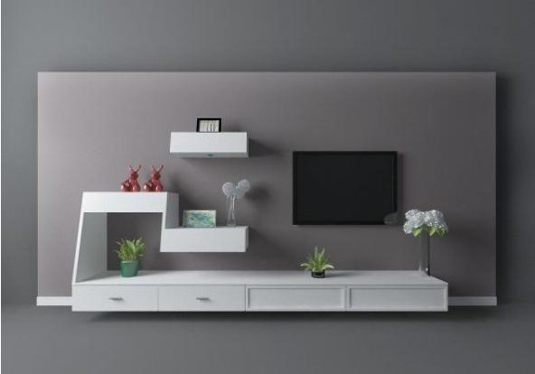 白色几何柜体电视墙3d模型下载