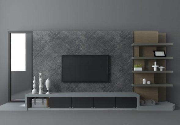 灰色现代电视墙3d模型下载