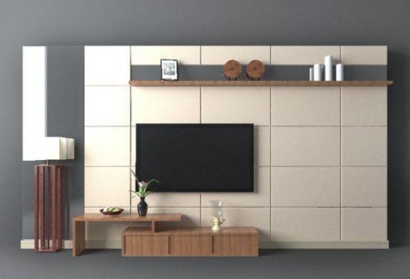 现代背景墙3d模型下载