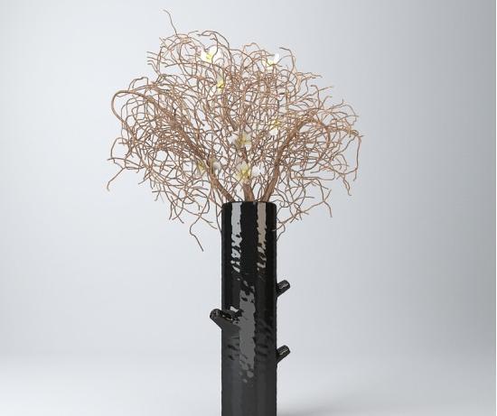 黑色花瓶花艺3d模型下载