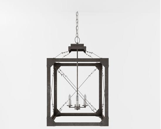 工业风格铁艺吊灯 3d模型下载