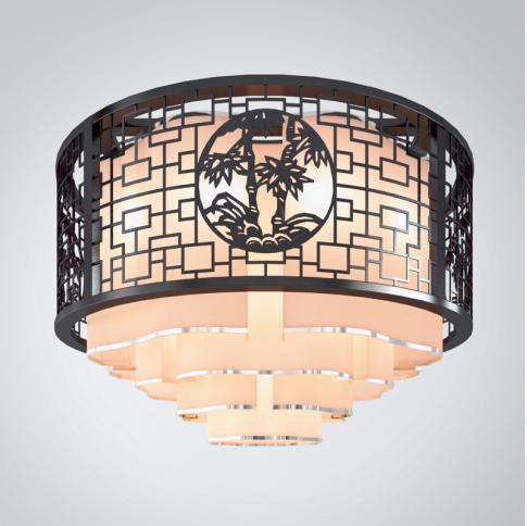 中式黑色圆形吊灯3d模型下载