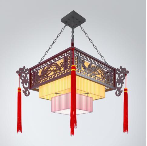 中式风格方形吊灯3d模型下载