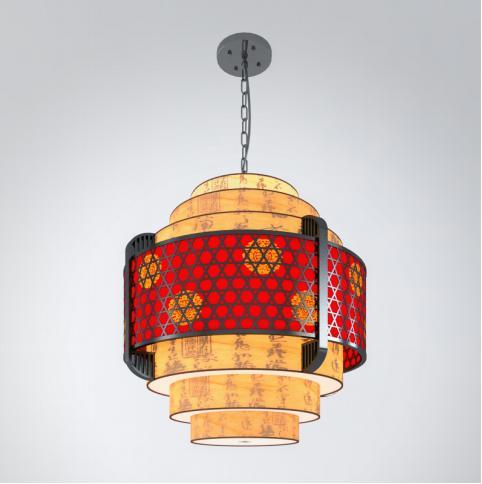 中式圆形吊灯3d模型下载