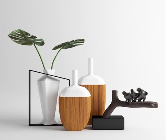 白色木纹花瓶3d模型下载