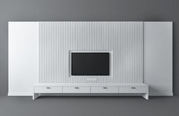 白色电视墙 3d模型下载