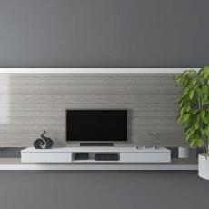 现代简约电视墙  3d模型下载