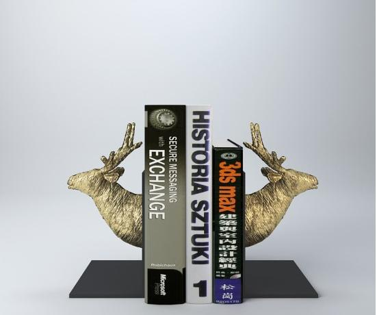 金色鹿头书挡 3d模型下载