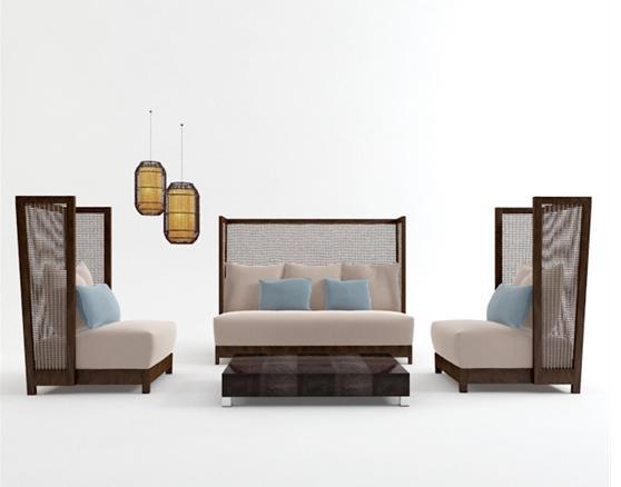 新中式风格沙发组合 3d模型下载