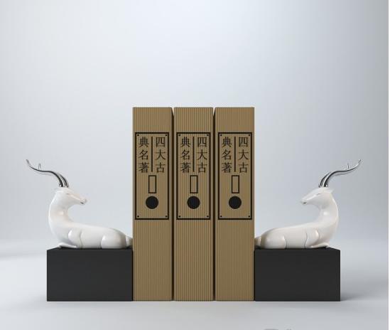 白色小鹿书挡 3d模型下载
