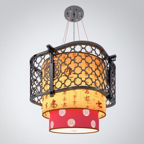 中式木质灯罩吊灯3d模型下载