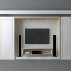 简欧风格电视柜3d模型下载
