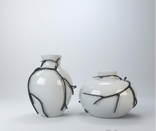 中式铁艺花瓶摆件3d模型下载