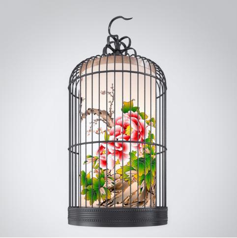 中式鸟笼吊灯3d模型下载