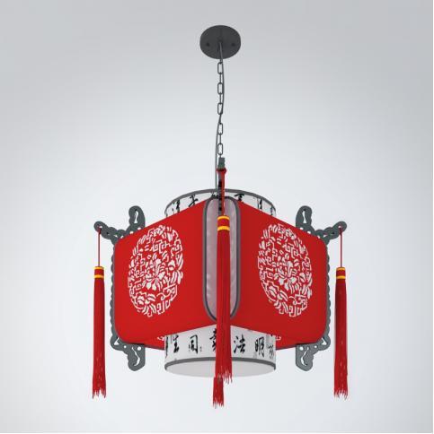 中式灯笼吊灯3d模型下载