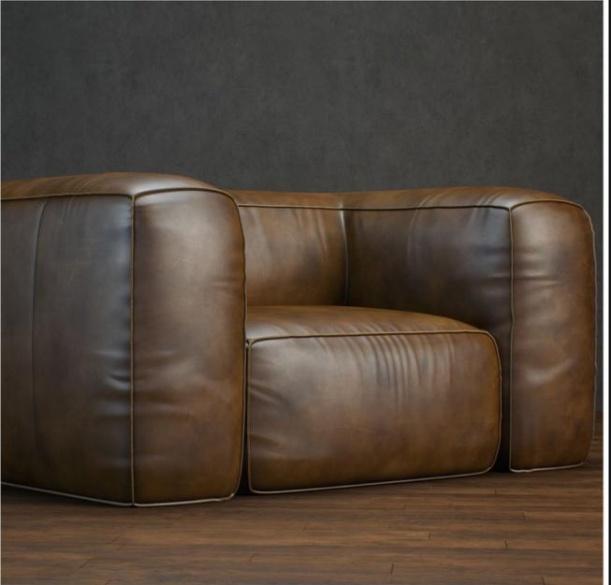 法式皮质单人沙发3d模型下载