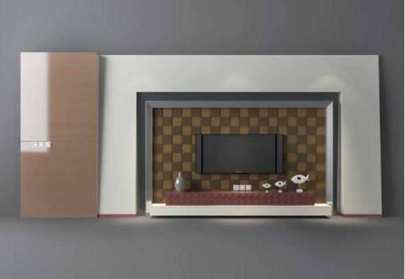 中式电视墙  3d模型下载