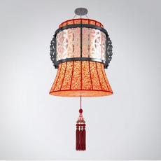 中式红色吊坠吊灯3d模型下载