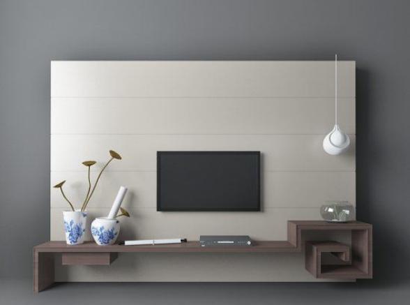 新中式电视墙  3d模型下载