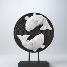 中式鱼元素摆件 3d模型下载