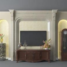 欧式电视柜3d模型下载
