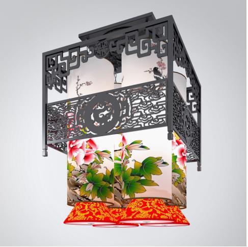 中式雕花吊灯3d模型下载