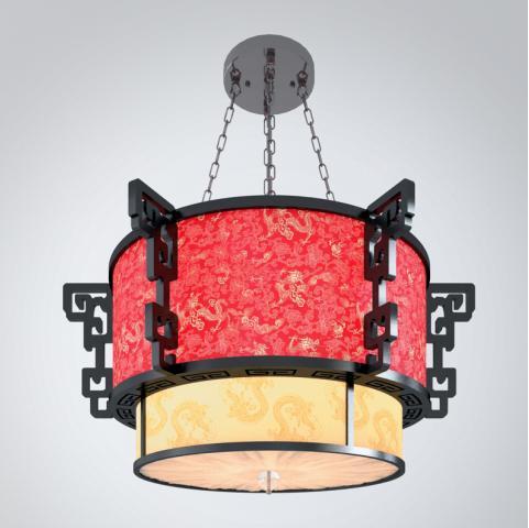 中式红色灯罩吊灯3d模型下载