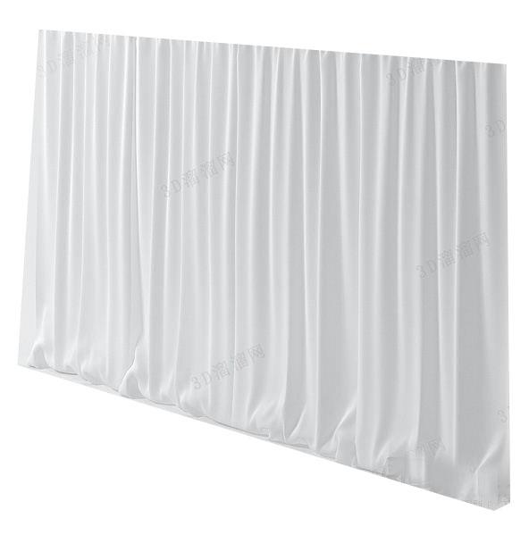 白色简约窗帘3d模型下载