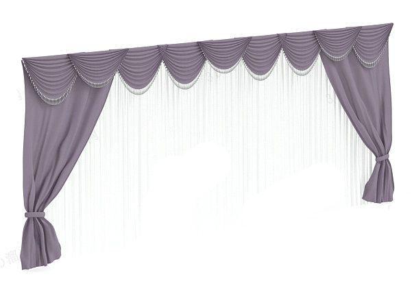 紫色窗帘3d模型下载