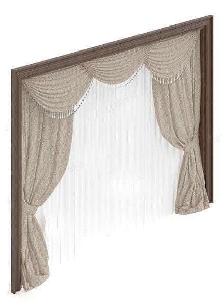 简约欧式窗帘3d模型