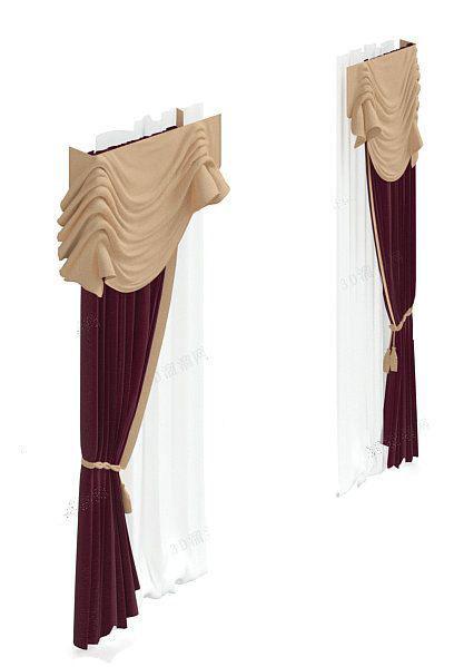 紫色欧式窗帘3d模型