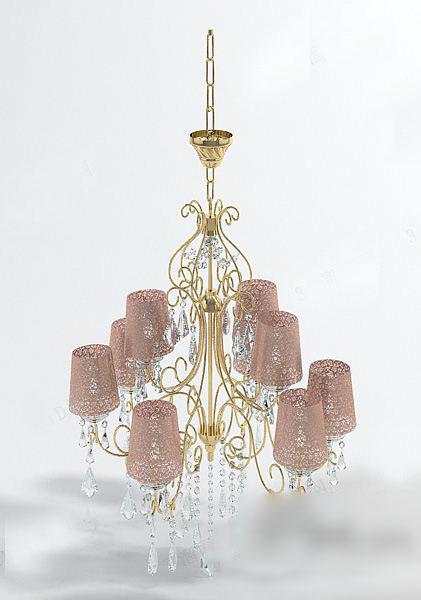 粉色水晶吊灯3d模型下载