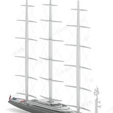 灰色帆船3d模型下载