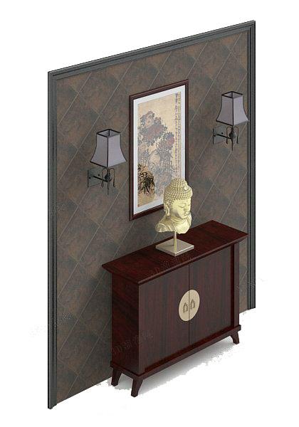 棕色木质玄关厅柜3d模型下载