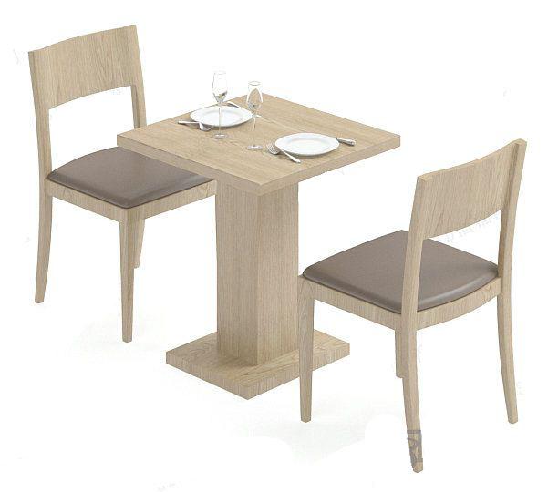 餐厅双人座餐桌模型下载