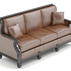 三人皮质沙发3d模型下载