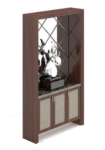 木质玄关厅柜3d模型免费下载