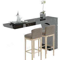 现代吧台吧台椅3d模型下载