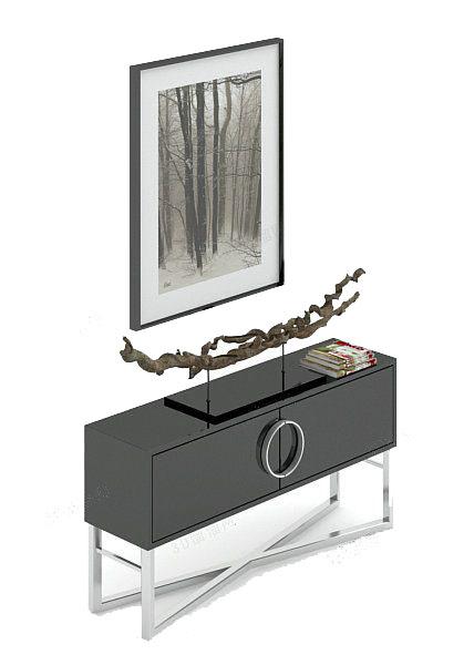 简约黑色电视柜3d模型下载