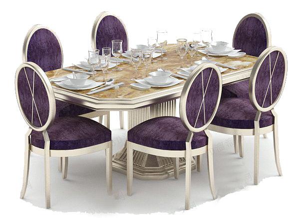 欧式家庭餐桌3d模型下载