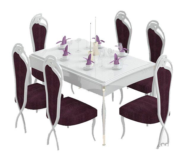 法式紫色餐桌椅组合3d模型下载