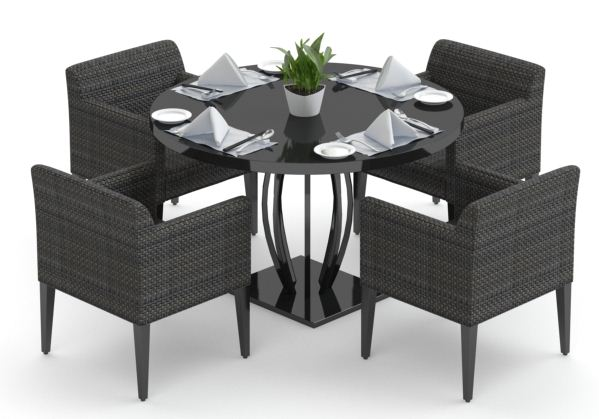 餐厅桌椅组合3d模型下载